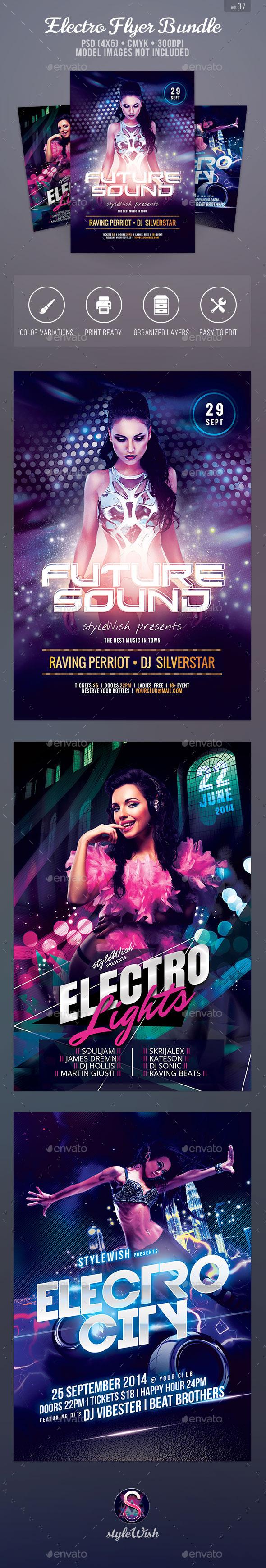 Electro Party Flyer Bundle Vol.07 - Clubs & Parties Events