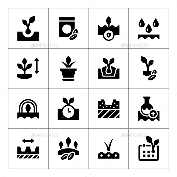 GraphicRiver Set Icons of Seed and Seedling 11291952