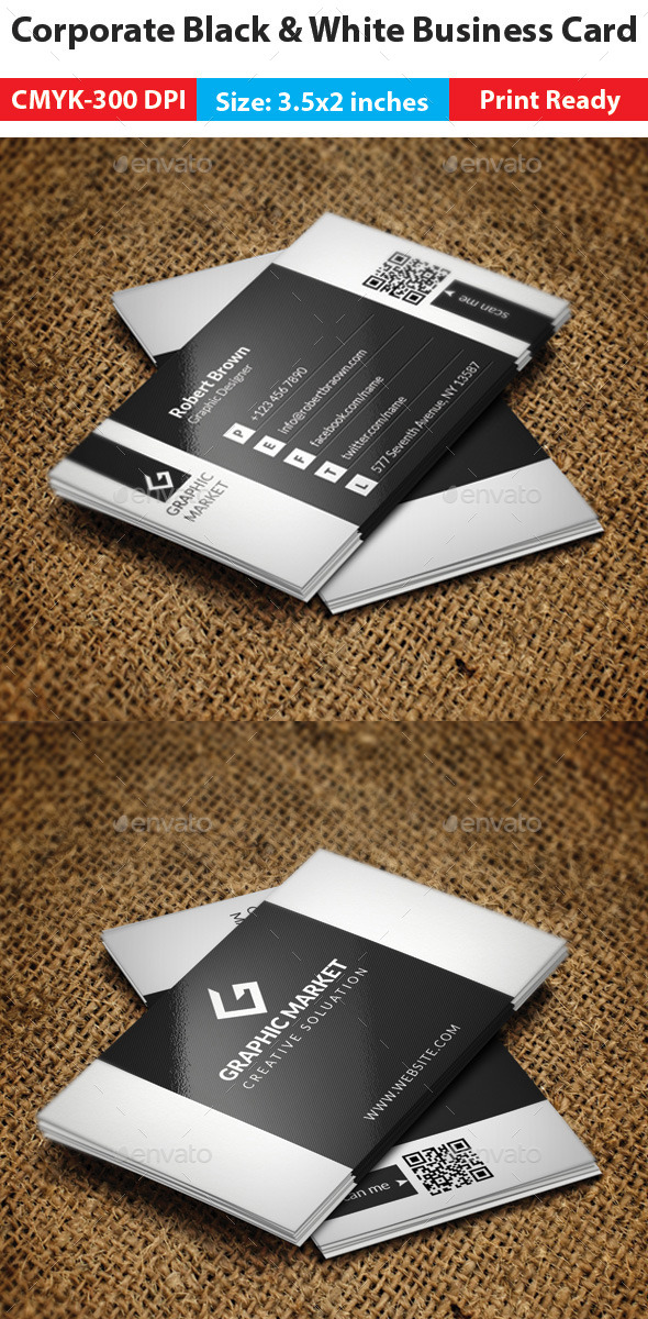 GraphicRiver Corporate Black & White Business Card 11265935