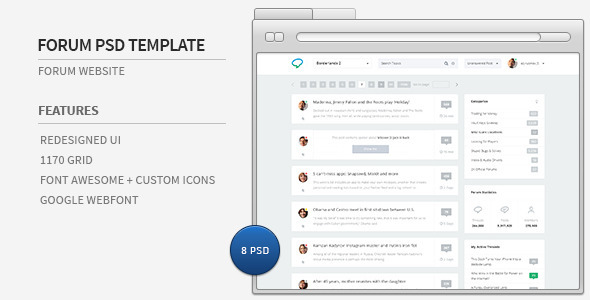 Forum Website PSD Template - Miscellaneous PSD Templates