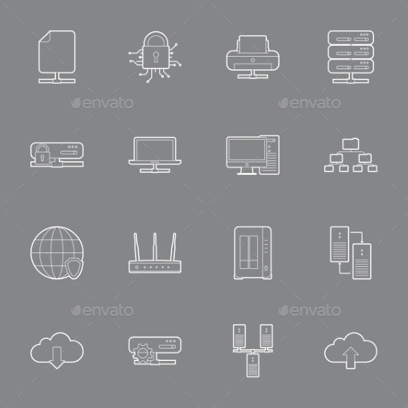 GraphicRiver Computer Systems and Networks Thin Lines Icons 11293510
