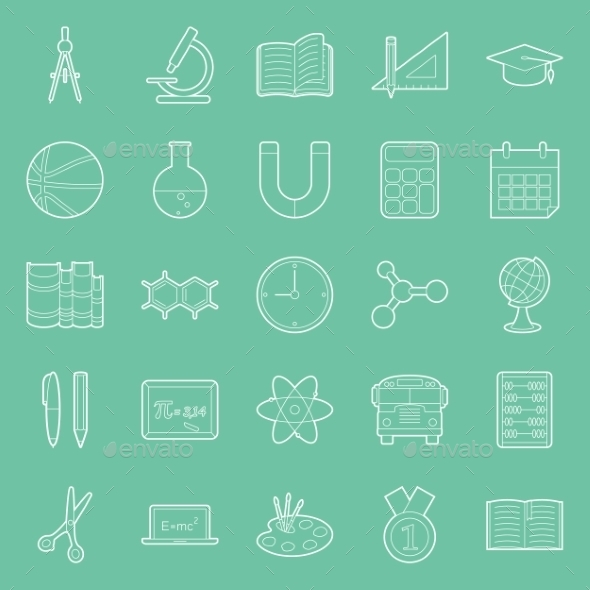 GraphicRiver Education and School Thin Lines Icons Set 11293521