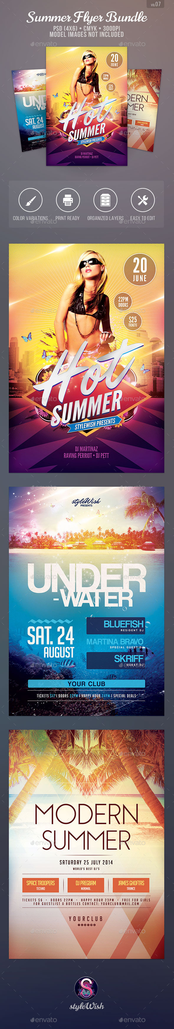 Summer Flyer Bundle Vol.07 - Clubs & Parties Events