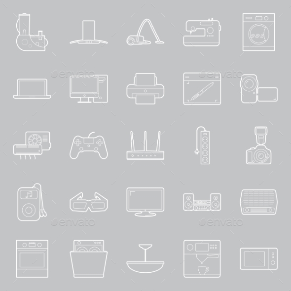 GraphicRiver Home Electrical Appliances Thin Lines Icon Set 11293638