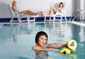Young attractive woman in pool doing exercise - PhotoDune Item for Sale