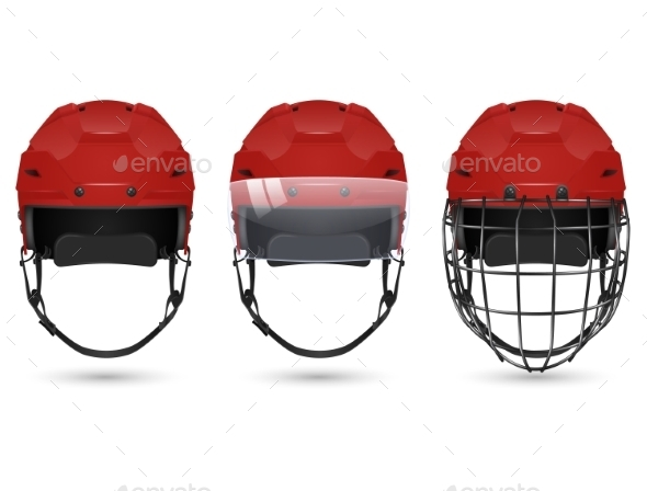 GraphicRiver Red Hockey Helmet In Three Varieties 11293995