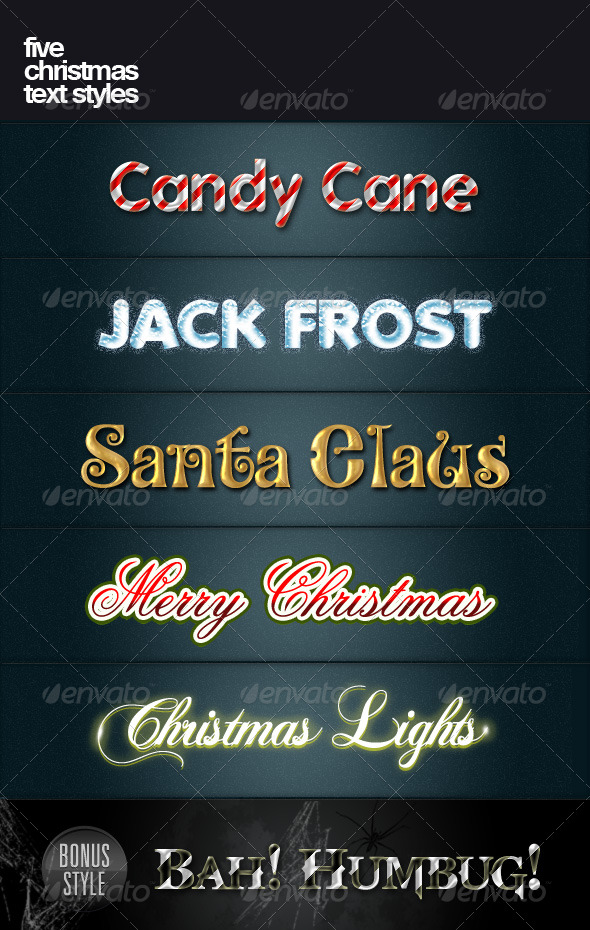 Five Christmas text styles - Text Effects Styles