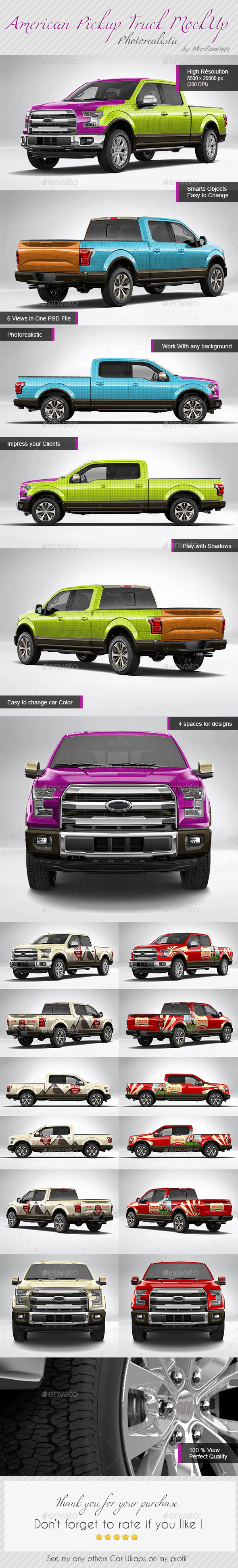 GraphicRiver Photorealistic American Pickup Truck Wrap Mock-up 11294880