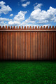 Urban Stage Wooden Fence Grass and Clouds - PhotoDune Item for Sale