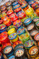 Beautiful Hand Painted Turkish Bowls on Table at the Market. - PhotoDune Item for Sale