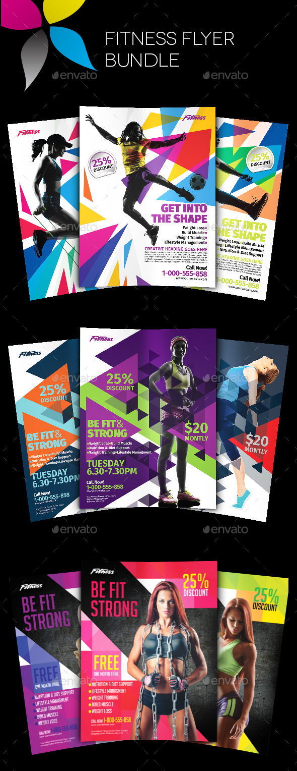 GraphicRiver Fitness Flyer Bundle 11296134