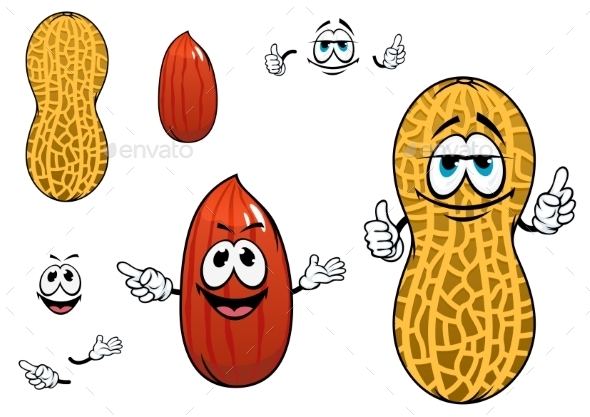 GraphicRiver Funny Kernel And Pod Of Peanut Characters 11296399