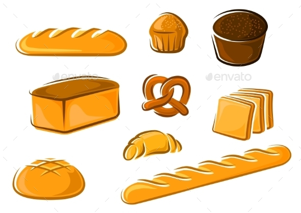 GraphicRiver Cartoon Bakery Products For Baker Shop Design 11296401