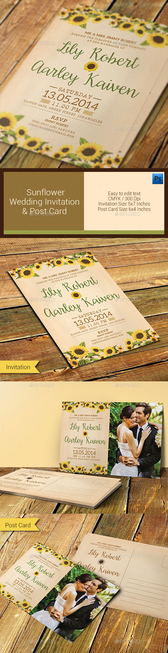GraphicRiver Sunflower Wedding Invitation & Post Card 11296659