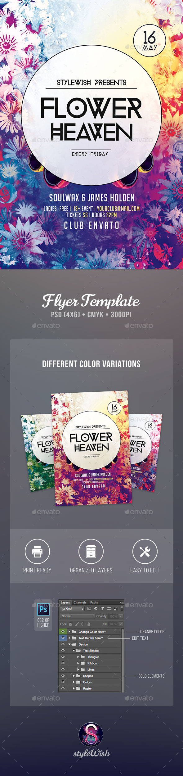 Flower Heaven Flyer - Clubs & Parties Events