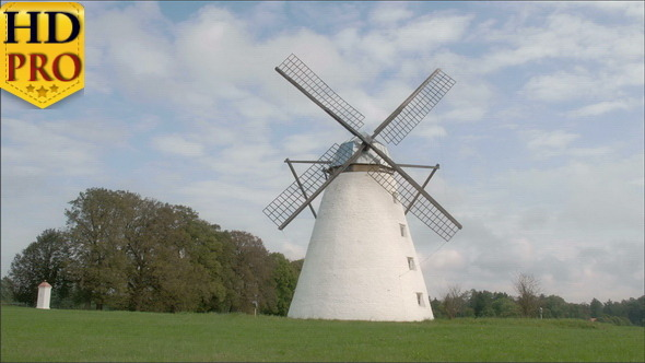 A Classic Old Windmill in the Middle of the Field