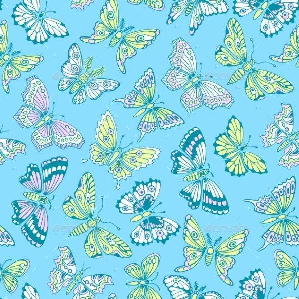 GraphicRiver Seamless Pattern With Decorative Butterflies 11297789