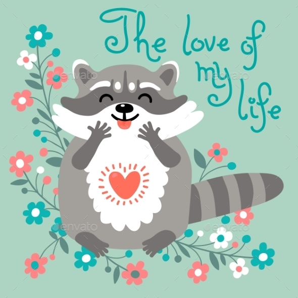 GraphicRiver Cute Raccoon Confesses His Love 11297796