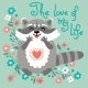 Cute Raccoon Confesses His Love. - GraphicRiver Item for Sale