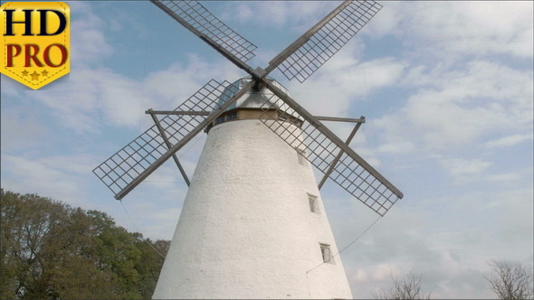 The Old Windmill with Four Blades in the Farm
