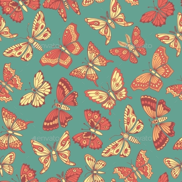 GraphicRiver Seamless Pattern With Decorative Butterflies 11297809