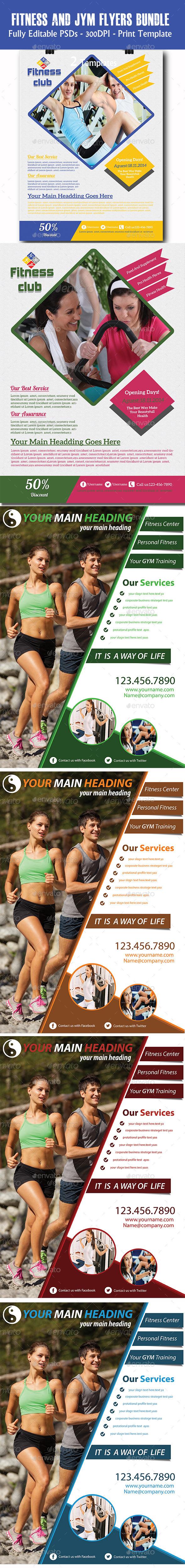 GraphicRiver Fitness Flyers Bundle 11297872