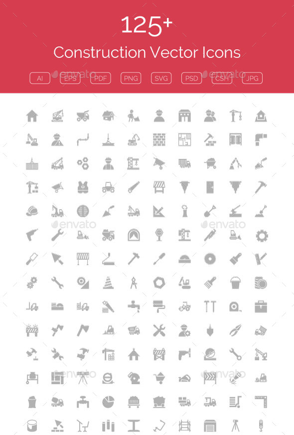 GraphicRiver 125& Construction Vector Icons 11298121