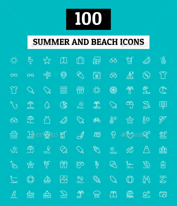 GraphicRiver 100 Summer and Beach Icons 11298128