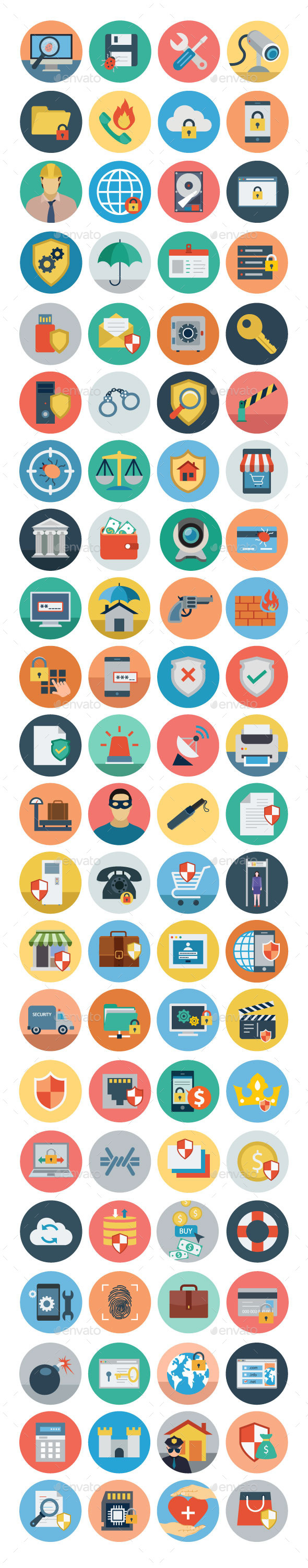 GraphicRiver 75& Flat Security Icons 11298186