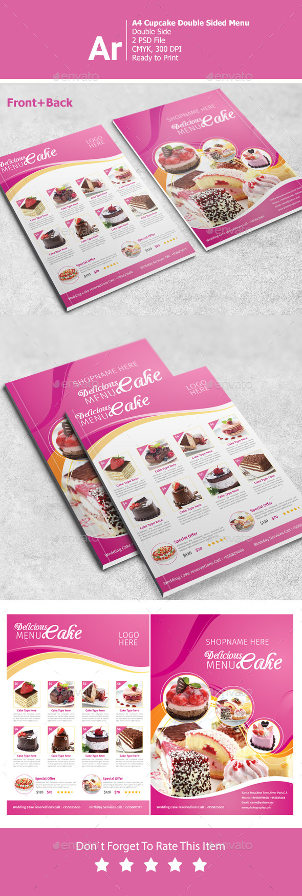 GraphicRiver A4 Cupcake Double Side Menu 11252804