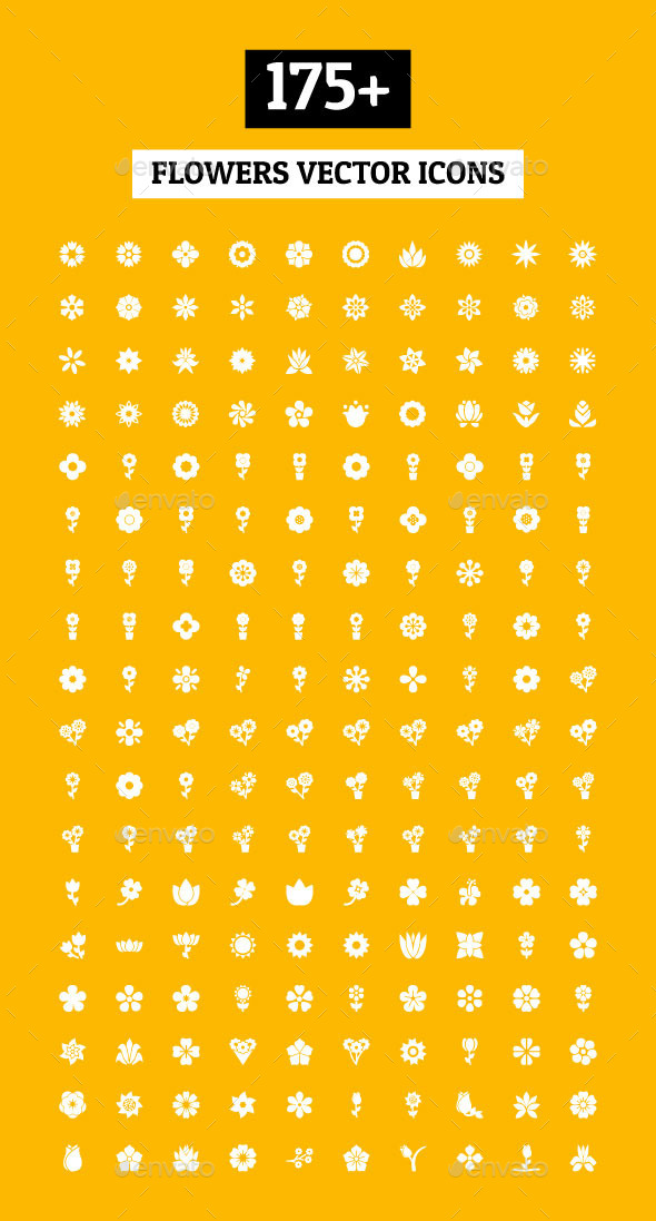 GraphicRiver 175& Flowers Vector Icons 11298197