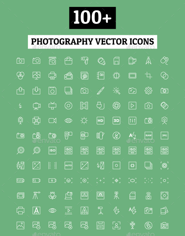 GraphicRiver 100& Photography Vector Icons 11298247