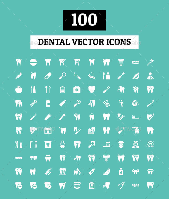 GraphicRiver 100 Dental Vector Icons 11298349