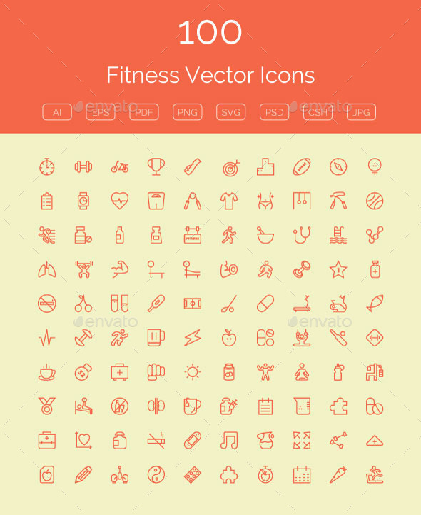 GraphicRiver 100 Fitness Vector Icons 11298460