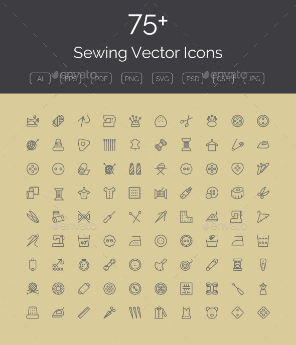 GraphicRiver 75& Sewing Vector Icons 11298489