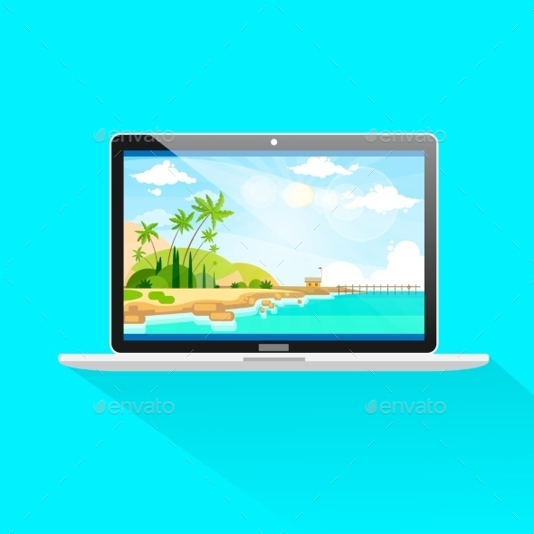 GraphicRiver New Modern Laptop Computer Front View Screen Icon 11298720