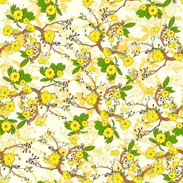 GraphicRiver Tree Branch With Yellow Flowers Abstract Nature 11298746