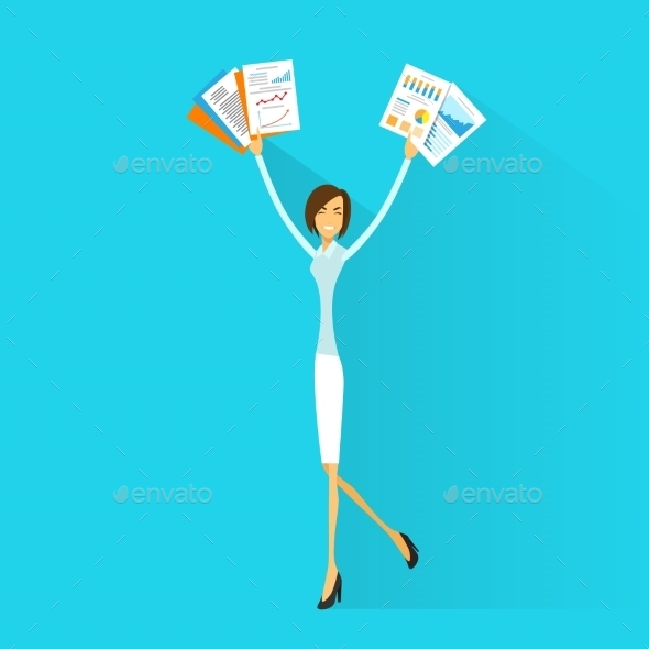 GraphicRiver Business Woman Excited Hold Hands Up 11298842