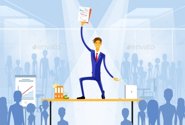 GraphicRiver Business Man Standing On Desk Wiith Documents 11298866