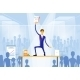 Business Man Standing On Desk Wiith Documents - GraphicRiver Item for Sale