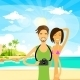Vacation Sea Ocean Beach Man And Woman Tourist - GraphicRiver Item for Sale