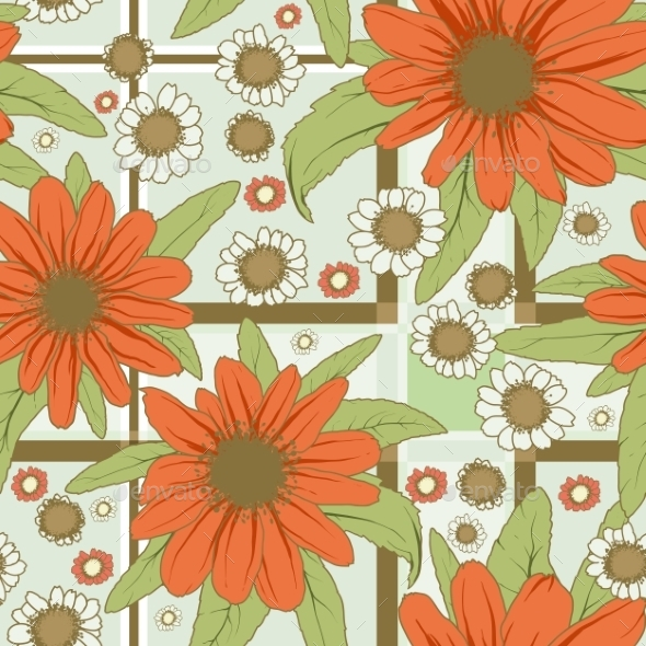 GraphicRiver Flowers Pattern Red 11299115