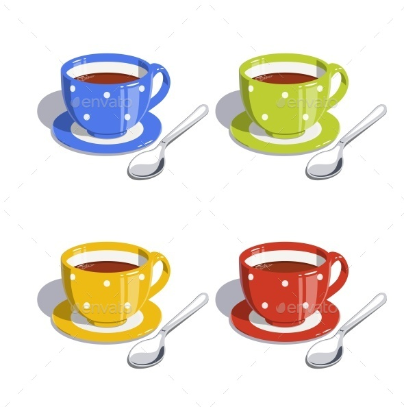 GraphicRiver Tea Cup and Spoon Set of Vector Illustrations 11299328