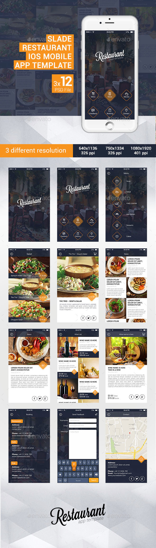 GraphicRiver Slade Restaurant iOS Mobile App Template 11299926