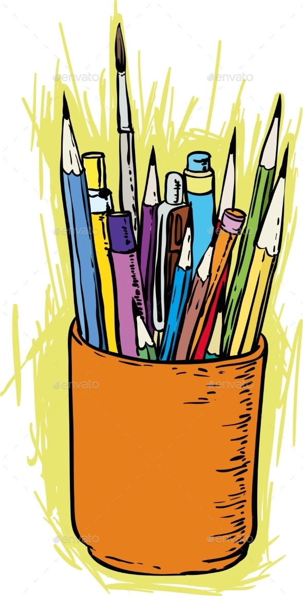 GraphicRiver Colorful Pencils And Brushes In The Holder 11299938