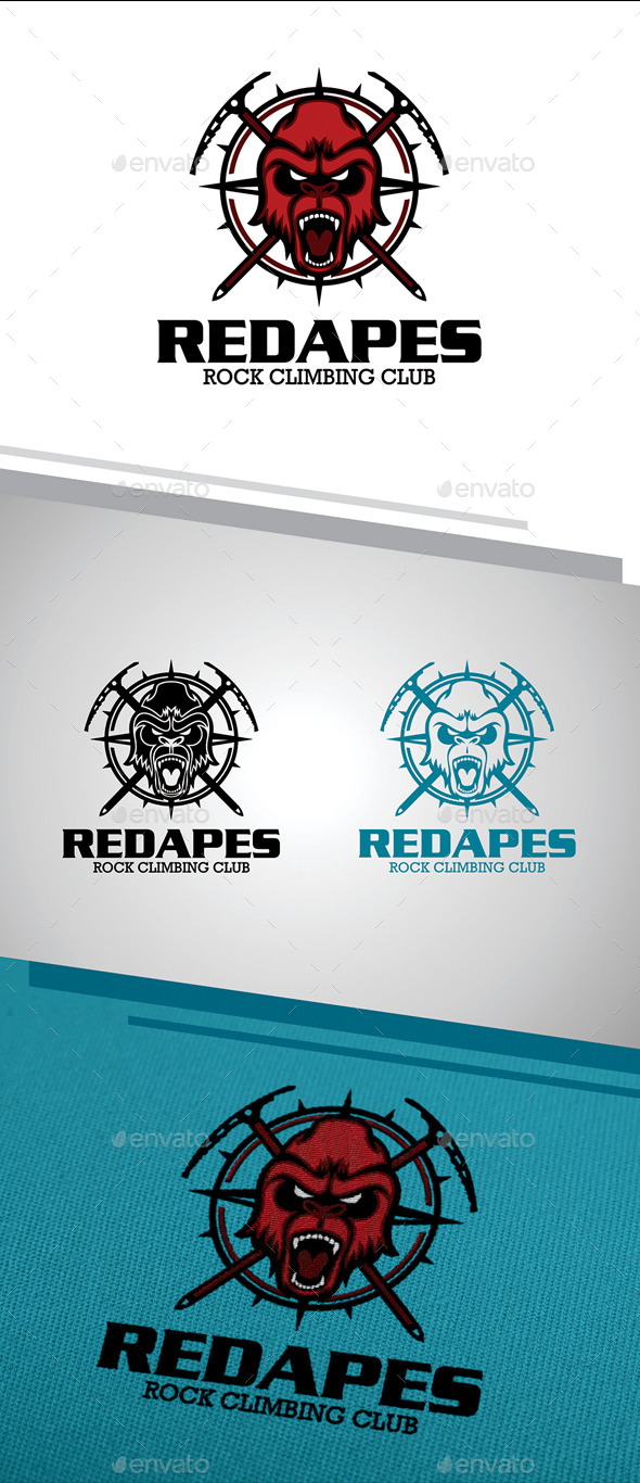 GraphicRiver Red Apes Logo 11300216