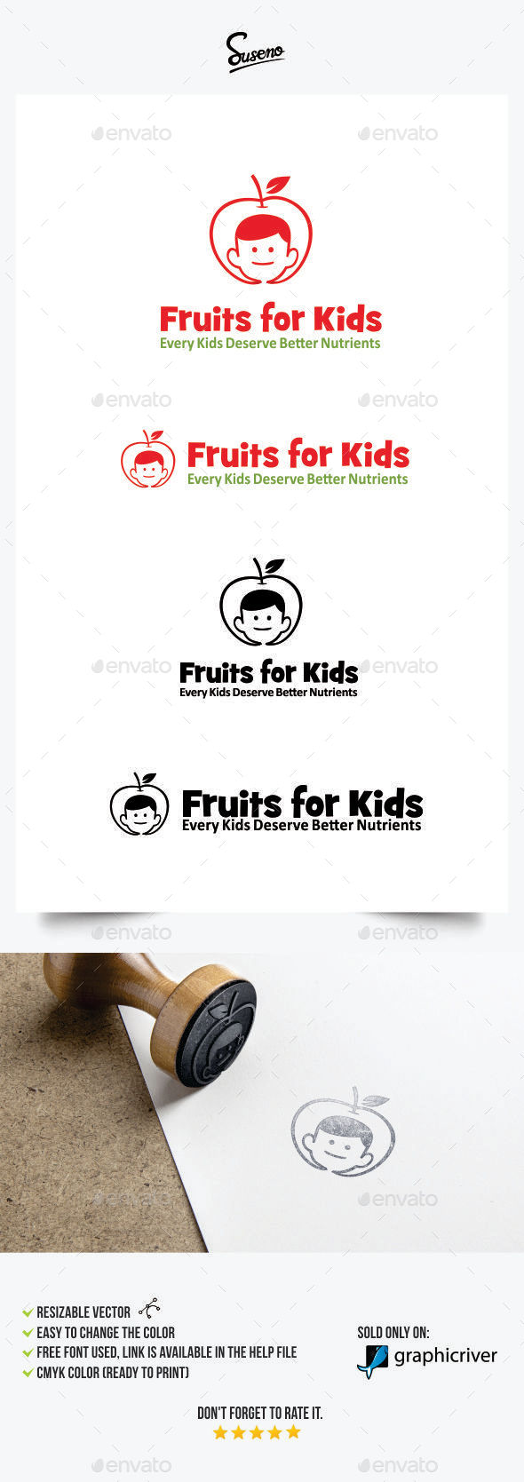 GraphicRiver Fruits for Kids Logo 11300569