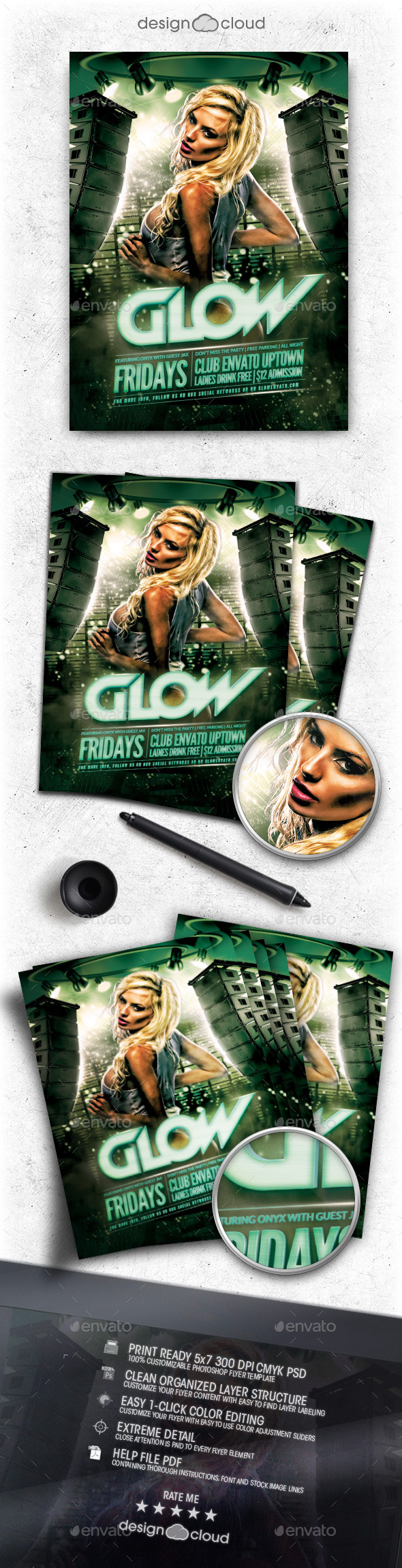 GraphicRiver Glow Club Flyer Template 11300618