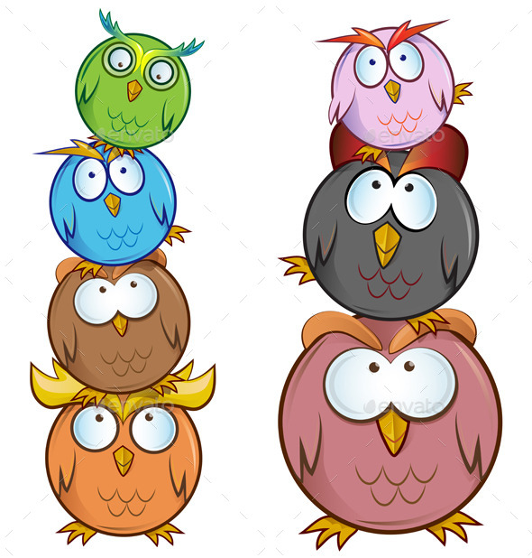 GraphicRiver Owl Group Cartoon 11300733