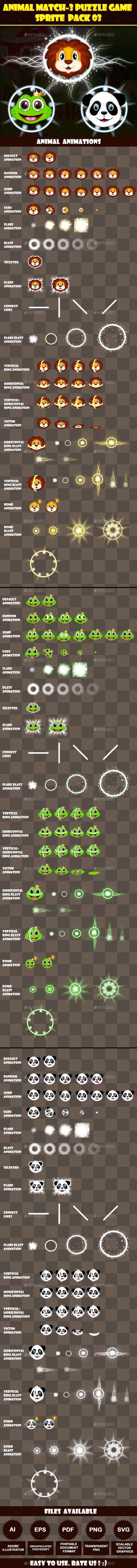 GraphicRiver Animal Match-3 Puzzle Game Sprite Pack 03 11300738